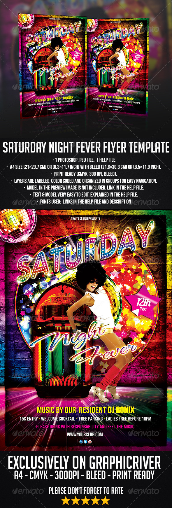 Saturday Night Fever Flyer Template | GraphicRiver