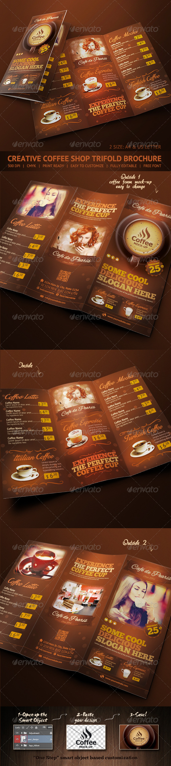 GraphicRiver Trifold Brochure Coffee Menu 6592355