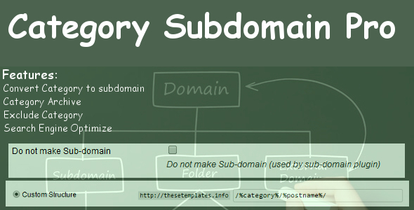 This plugin convert your category into sub domain. For Example: Category Permalink: audio.tutplus.com wp.tutplus.com graphic.tutplus.com Single Post Permalink: