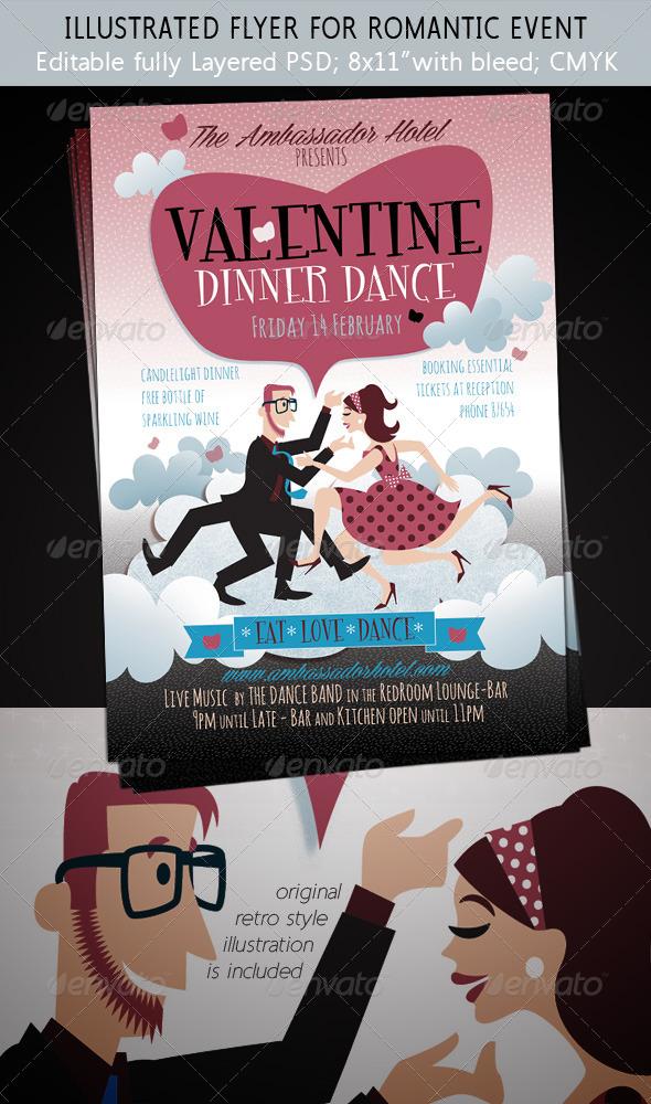 GraphicRiver Valentine s Day Romance Illustrated Flyer 6592958
