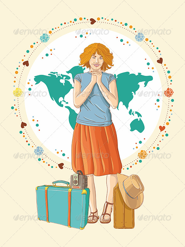 GraphicRiver Young Traveler Girl with Baggage 6584484