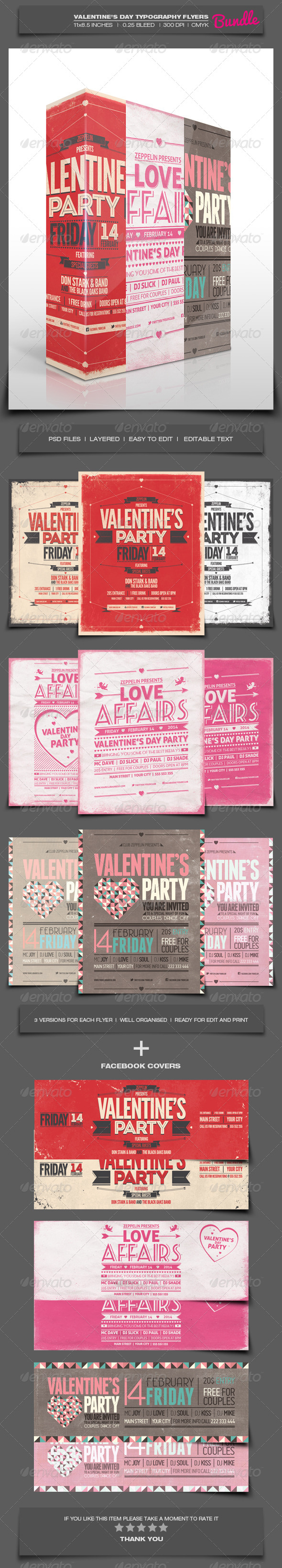 GraphicRiver Valentine s Day Party Typography Flyers Bundle 6593300