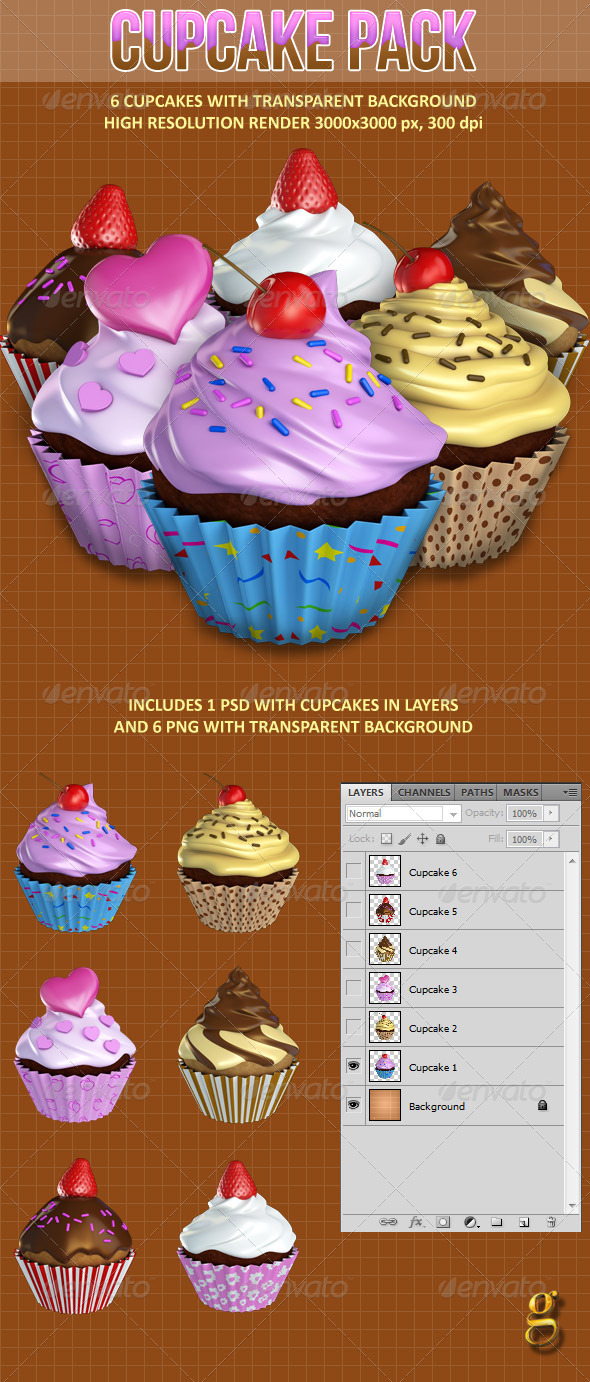 GraphicRiver Cupcake pack 6593380