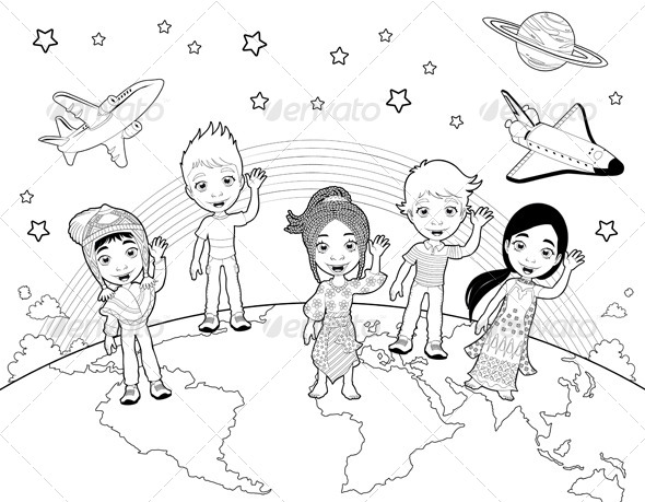 GraphicRiver Children on the World in Black and White 6593468