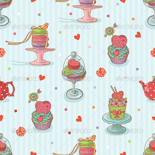 GraphicRiver Seamless Pattern with Cake Illustrations 6594360