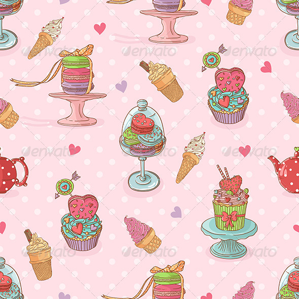 GraphicRiver Seamless Pattern with Cupcakes and Ice Cream 6594381