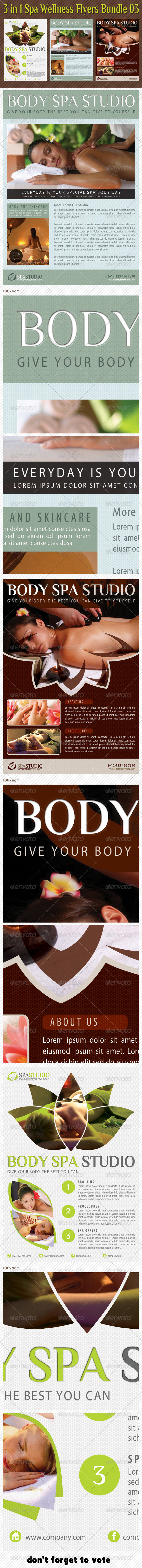 GraphicRiver 3 in 1 Spa Wellness Flyers Bundle 04 6594708