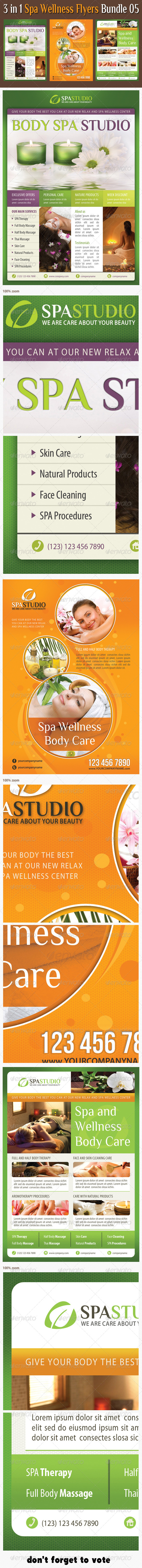 GraphicRiver 3 in 1 Spa Wellness Flyers Bundle 05 6594737