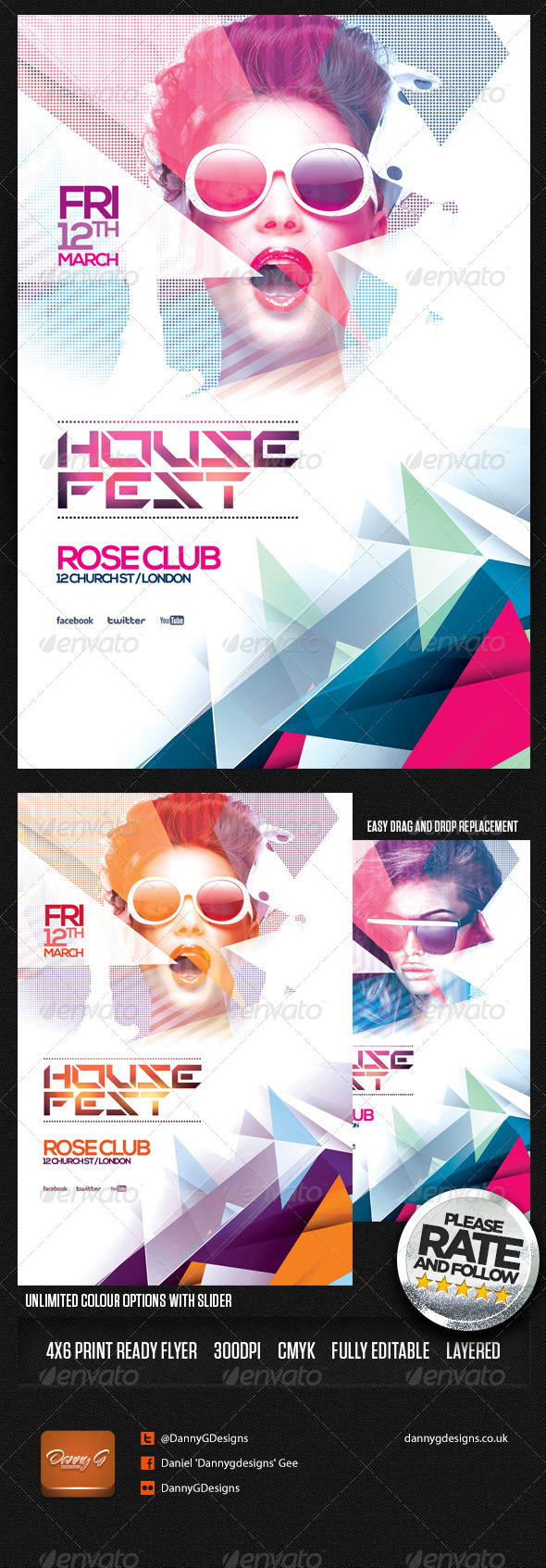 House Fest Flyer Template PSD - Clubs & Parties Events