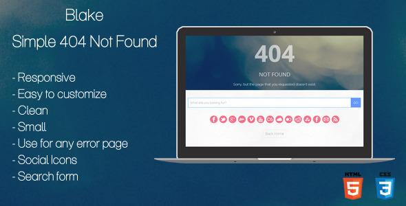 ThemeForest Blake 404 Not Found Page 6588796