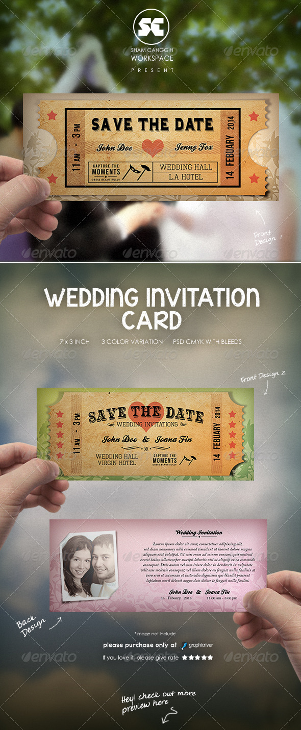 GraphicRiver Wedding Card Invitation Old Ticket Style 6596352