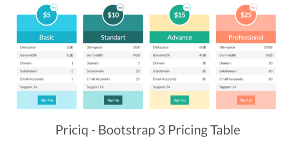 CodeCanyon Priciq Bootstrap 3 Pricing Table 6596509