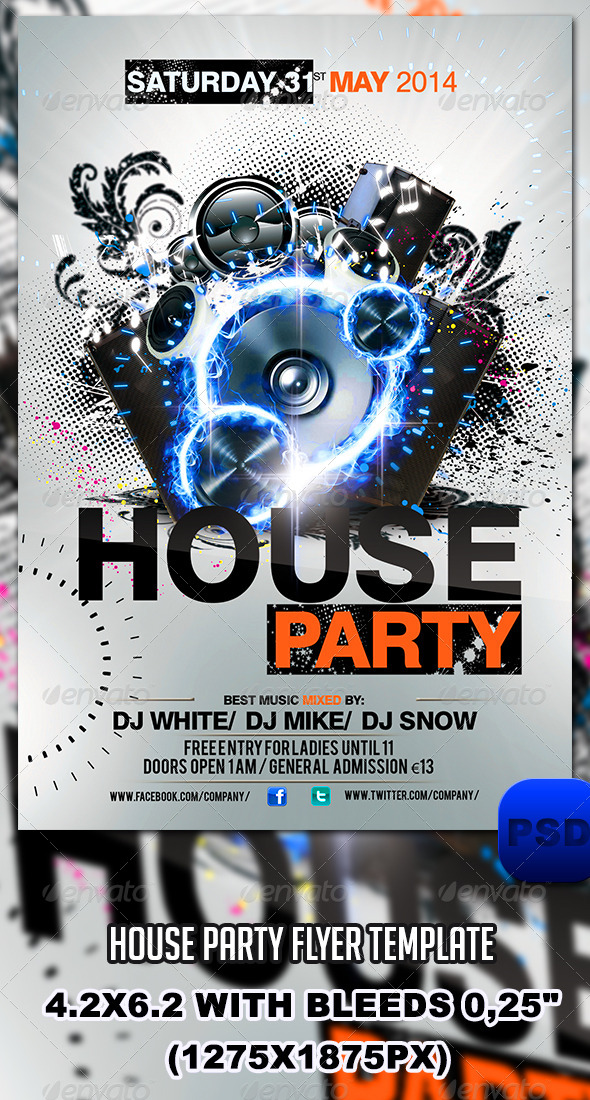 GraphicRiver House Party Flyer Template 6596528