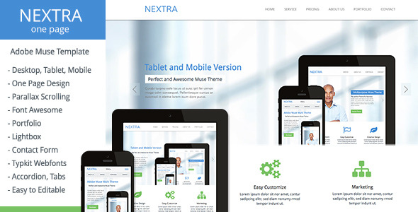 Nextra - One Page Muse Template