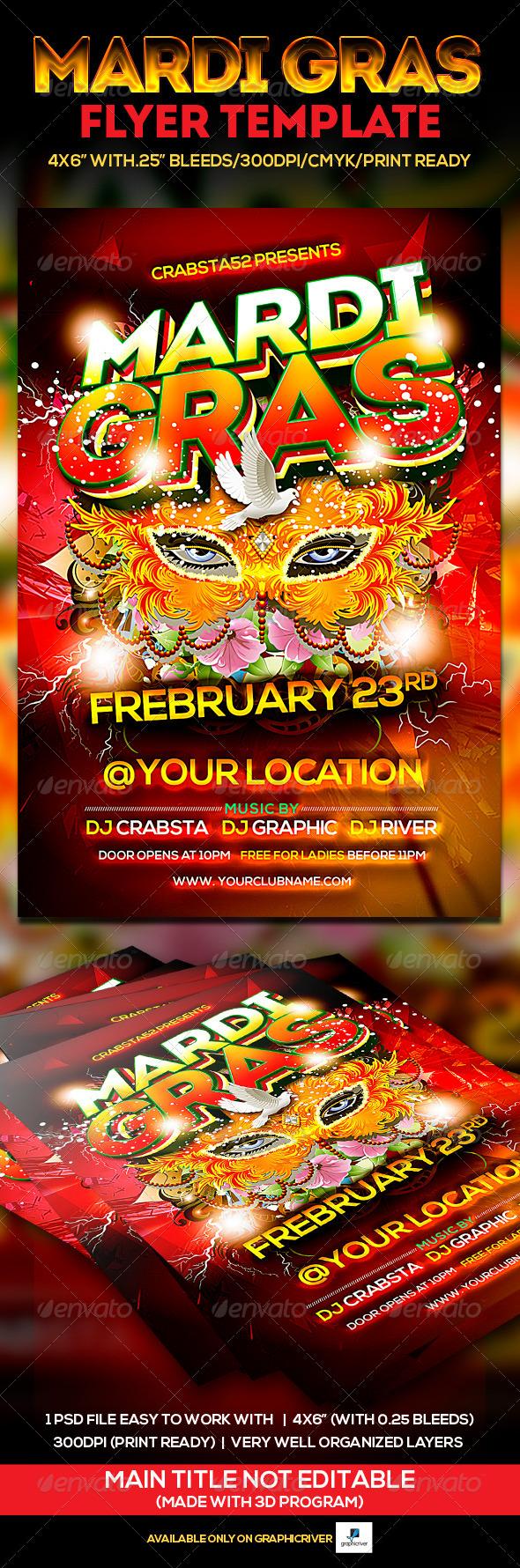 GraphicRiver Mardi Gras Flyer Template 6596807