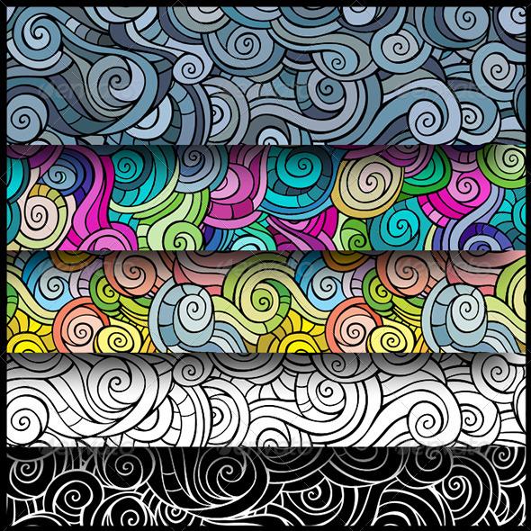Curls Seamless Pattern Set