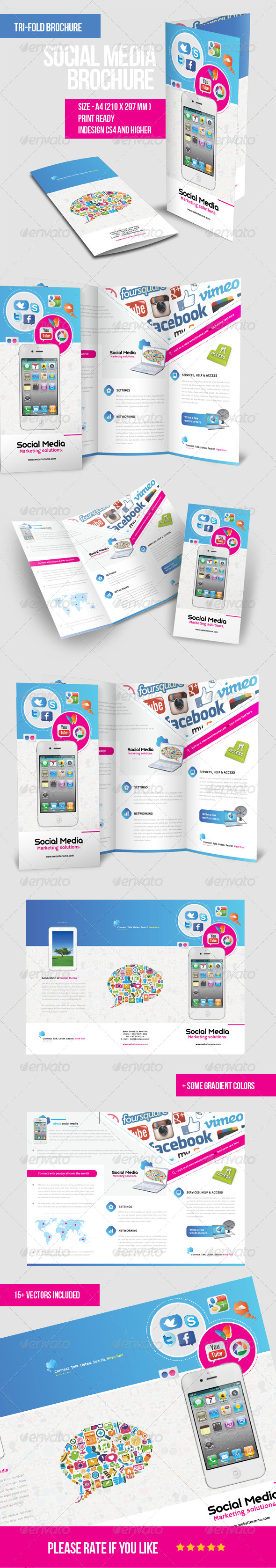 GraphicRiver Mobile & Social Media Tri fold Brochure 6592343