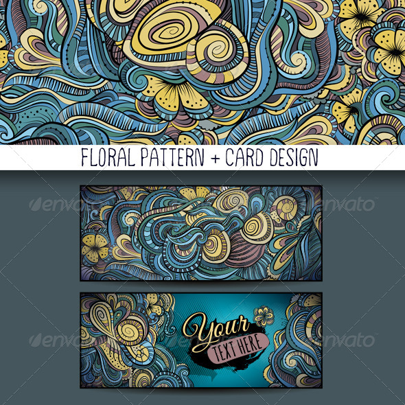GraphicRiver Decorative Floral Pattern and Card Design 6587118