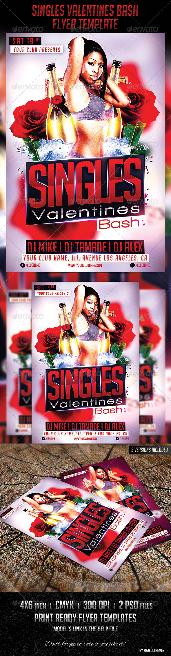 Singles Valentines Bash Party Flyer  - Events Flyers