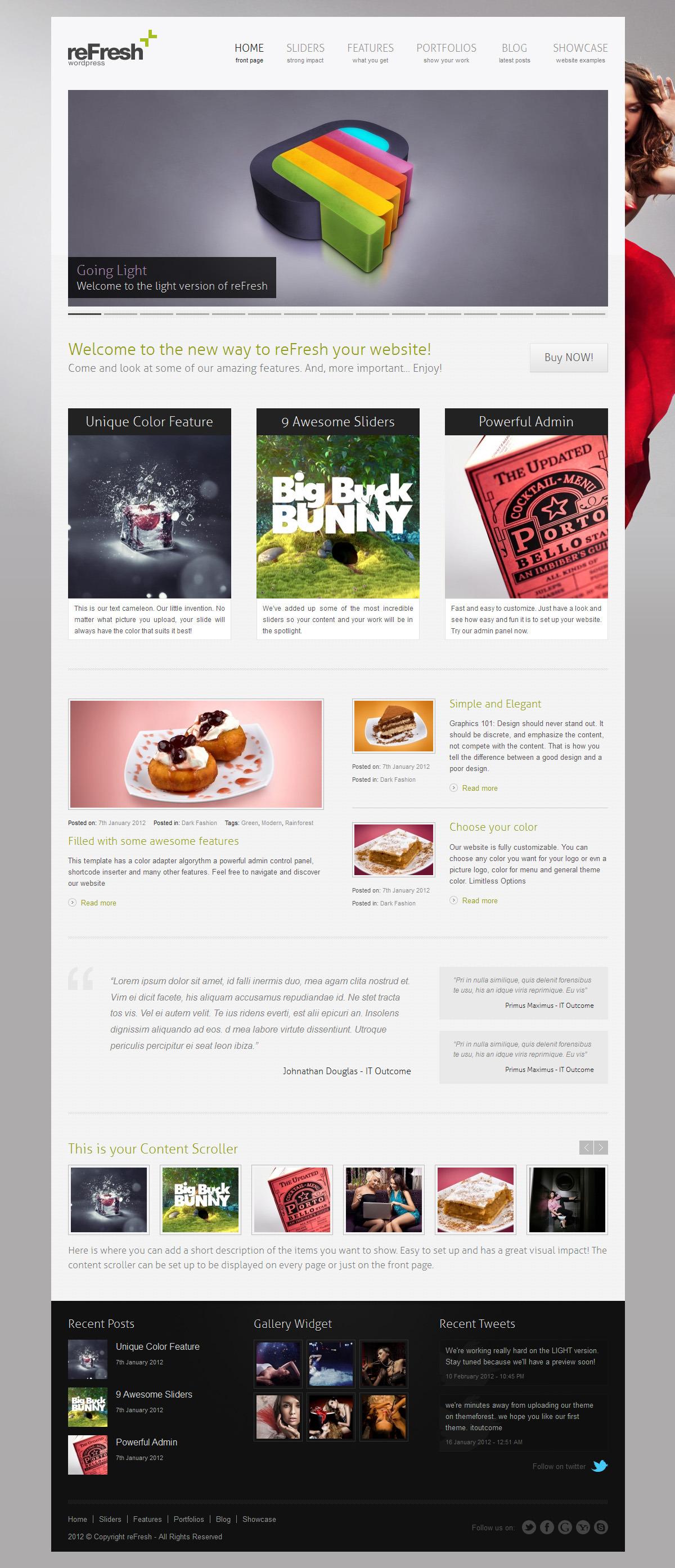reFresh - Powerful Clean & Elegant WordPress Theme - reFresh Light Version Out Now