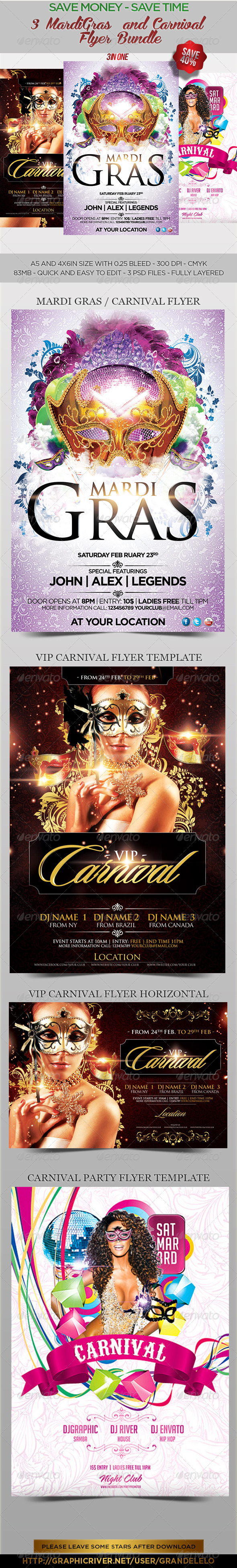 GraphicRiver 3 MardiGras n Carnival Flyer Bundle 6598628
