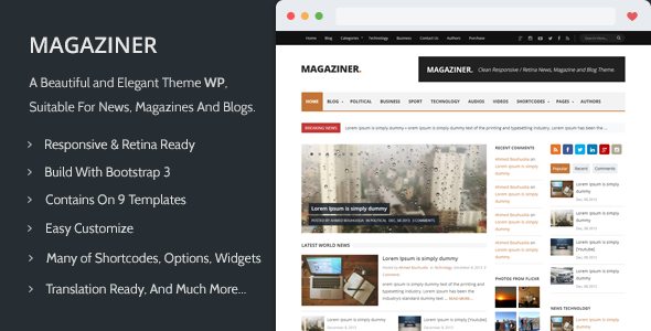 ThemeForest Magaziner Responsive WP News Magazine Blog 6486461