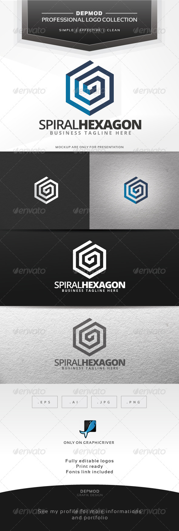 GraphicRiver Spiral Hexagon Logo 6599892