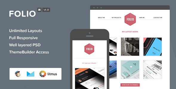 ThemeForest Folio Responsive Email With Themebuilder 6600022