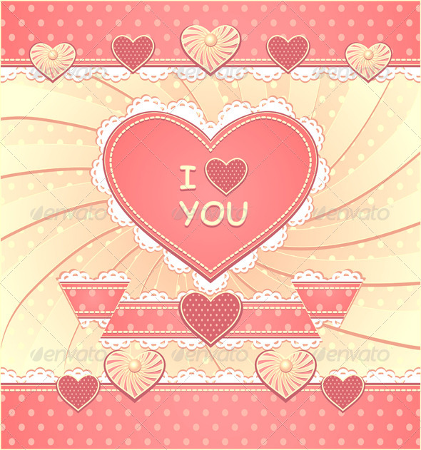 GraphicRiver Valentines Card with Hearts and Scrapbooking 6600850