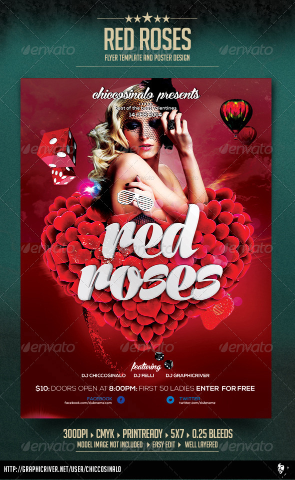 Red Roses Flyer Template - Events Flyers
