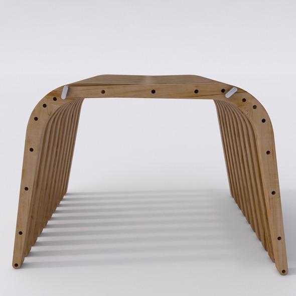 3DOcean Wooden Bench 74 BOOMERANG 6601054