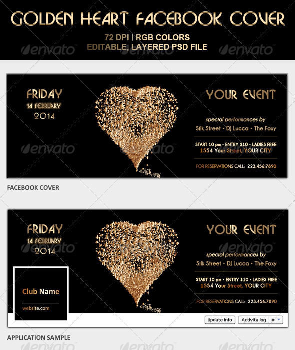 GraphicRiver Golden Heart Facebook Cover 6601229