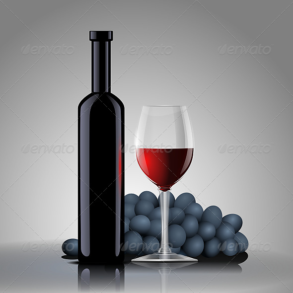 GraphicRiver Bottle with Red Wine with a Glass and Grapes 6601832