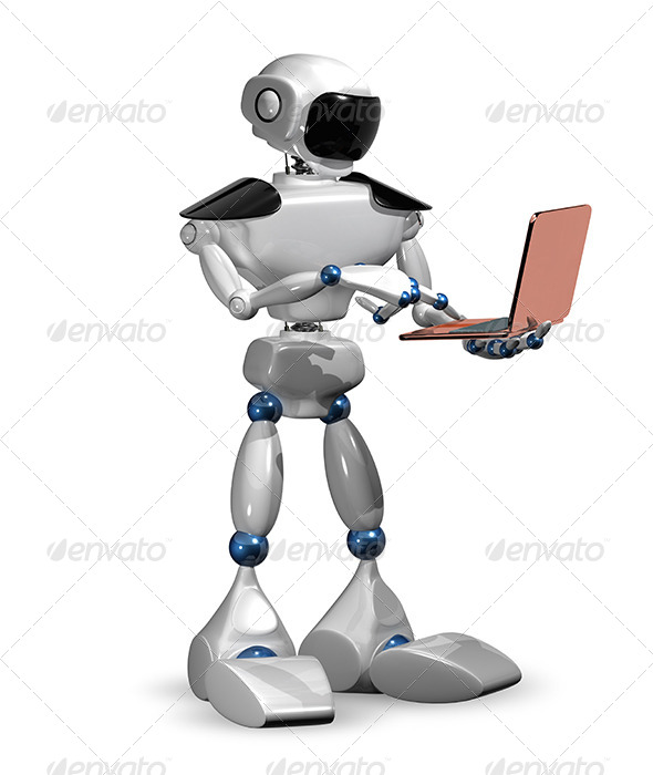 GraphicRiver Robot with a Laptop 6601938