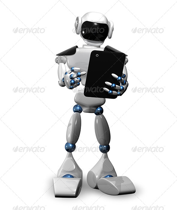 GraphicRiver Robot with Tablet 6601994
