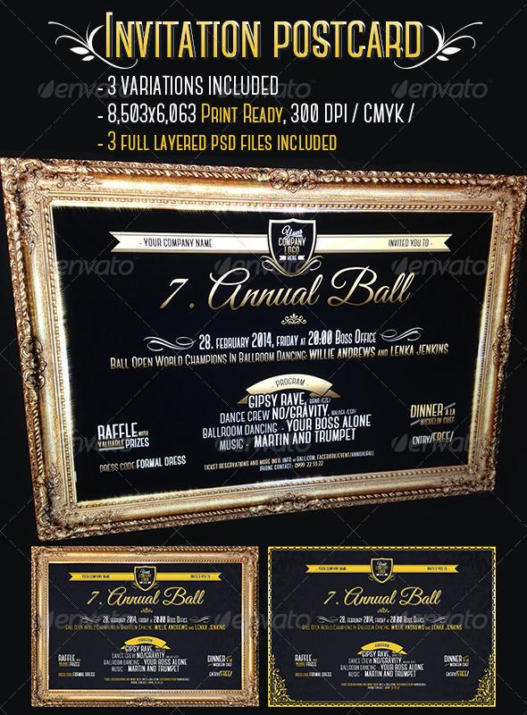 GraphicRiver VIP Gold Frame Invitation Cards 6570001