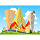Abstract Vector City Surrounded by Nature Landscape - GraphicRiver Item for Sale