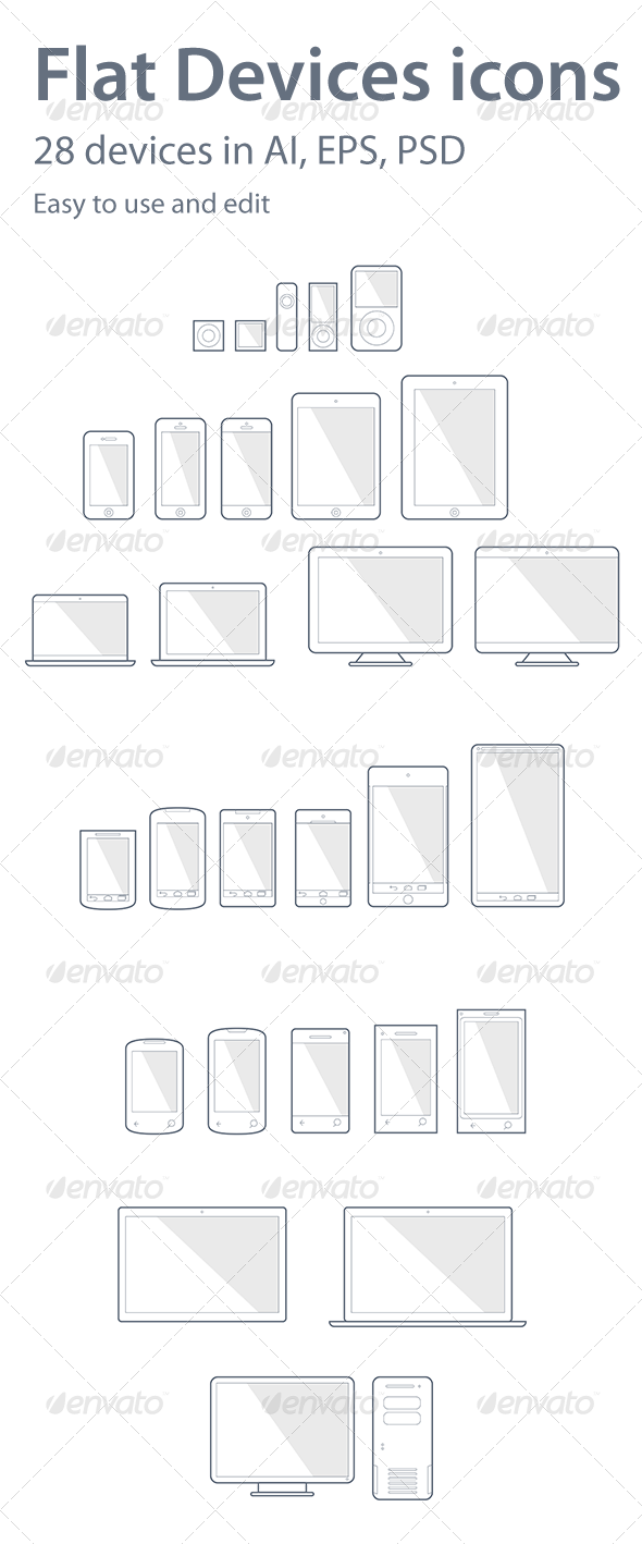GraphicRiver 28 Devices Icons 6584191