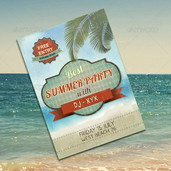 GraphicRiver Vintage Summer Party Flyer 6602222