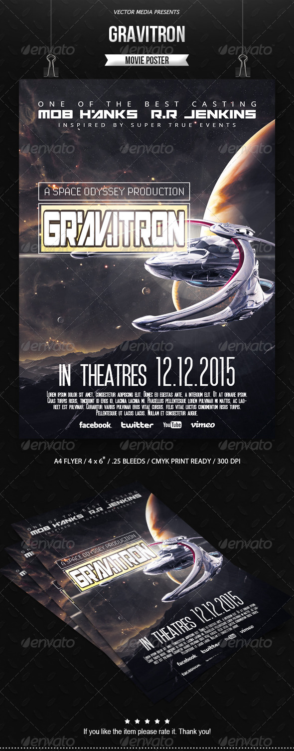 GraphicRiver Gravitron Movie Poster 6602564