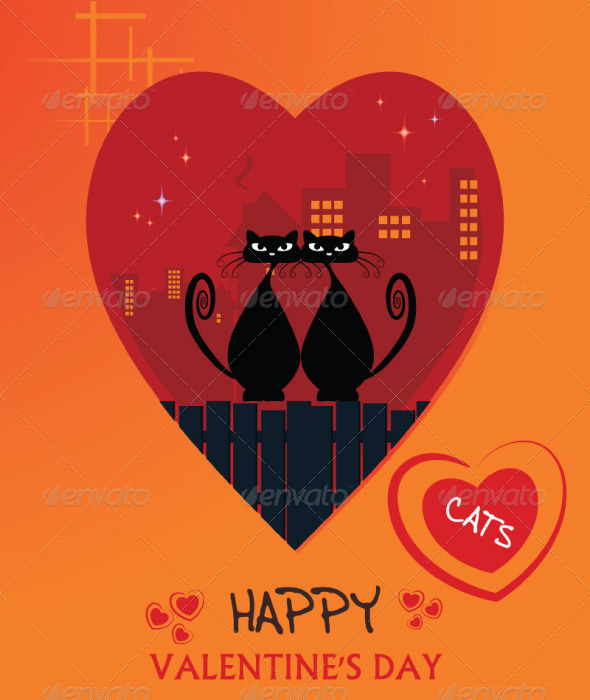 cats valentine's day card