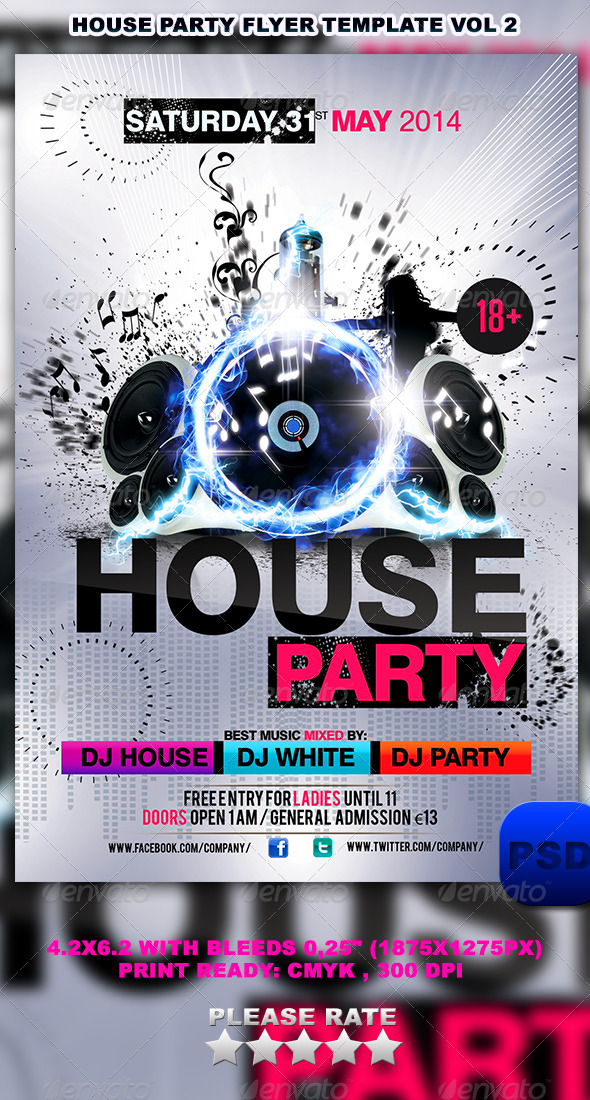 GraphicRiver House Party Flyer Template Vol 2 6602792