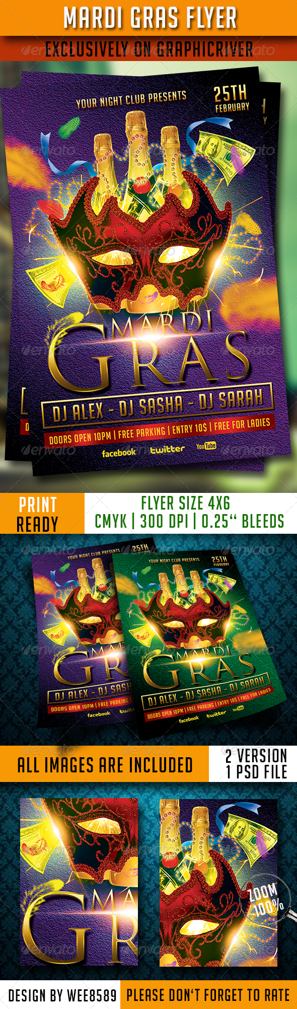GraphicRiver Mardi Gras Flyer Template 6602570
