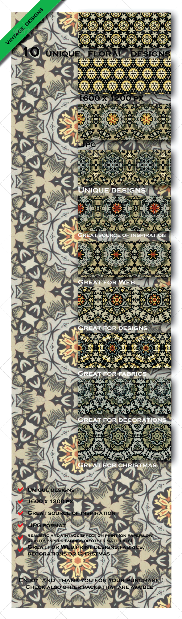 GraphicRiver 10 Gift Paper Fabric Models Patterns 6603254