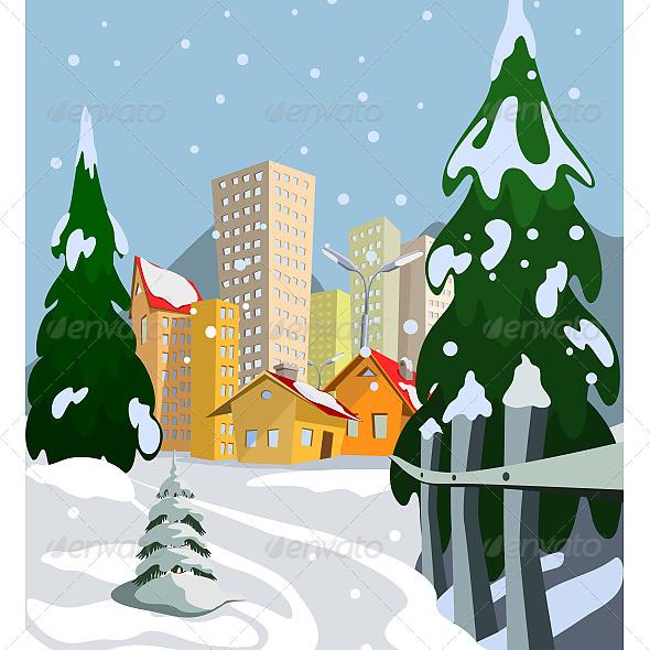GraphicRiver Winter Vector City 6603274