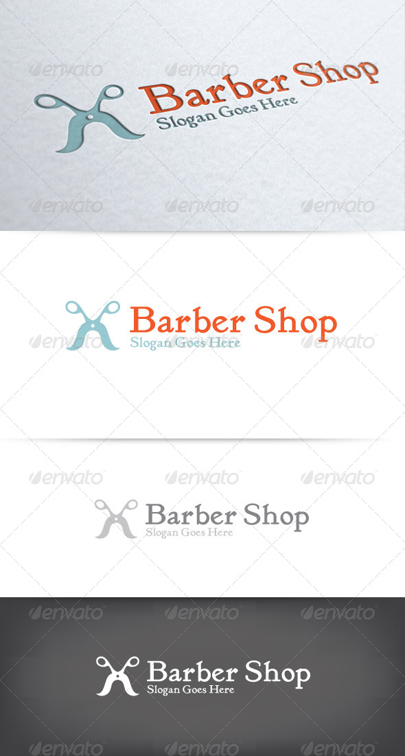 GraphicRiver Mustache Scissors Barber Shop Logo 6603316