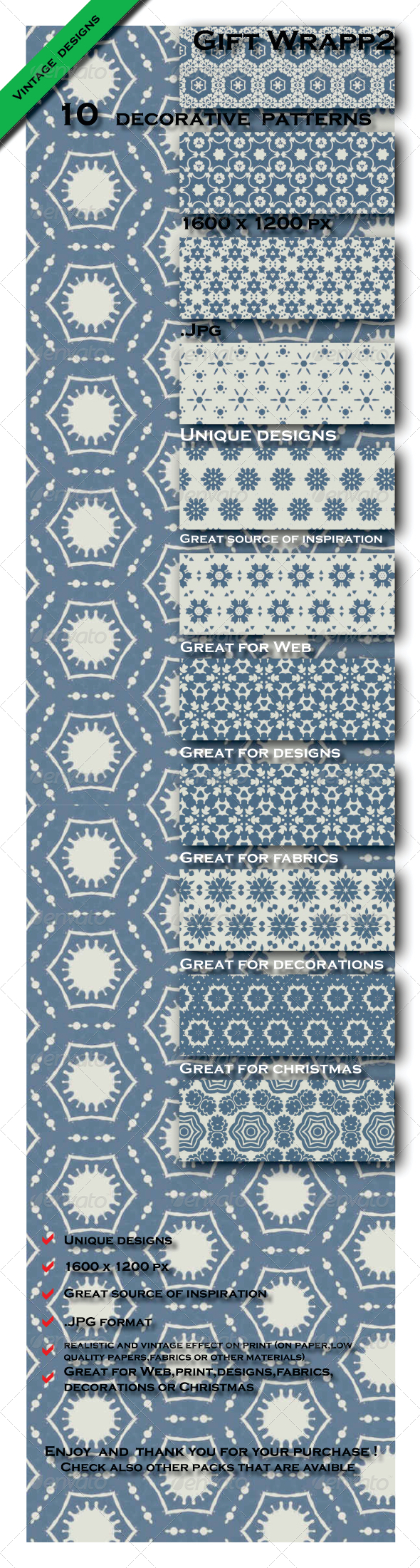 GraphicRiver 10 Gift Paper Models Patterns Pack 2 6603436