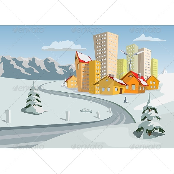 GraphicRiver Winter Vector City 6603456
