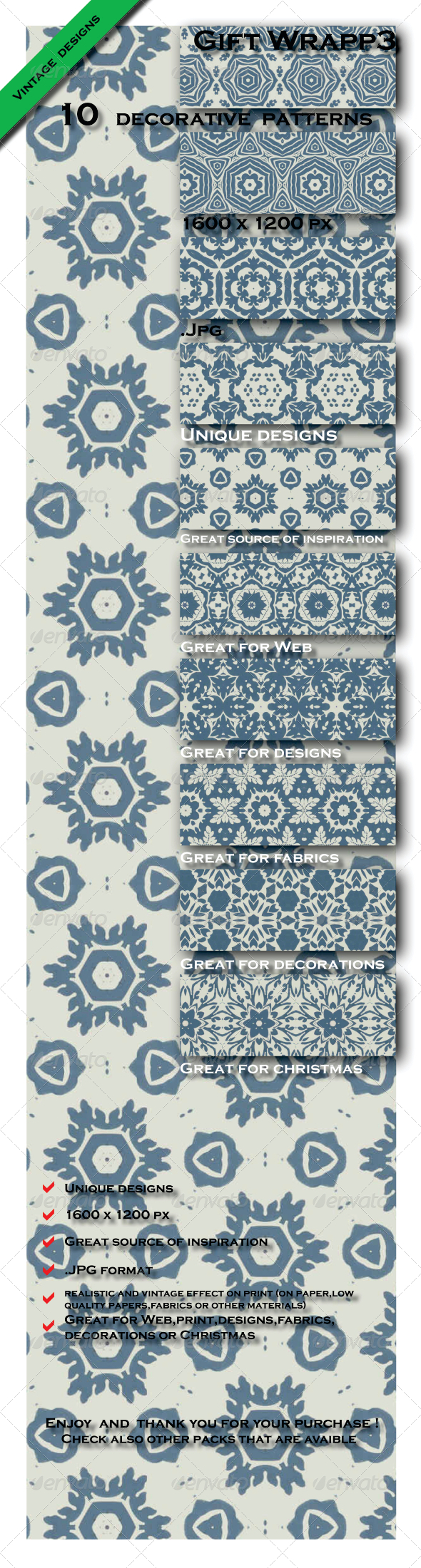 GraphicRiver 10 Gift Paper Designs Patterns Pack 3 6603473