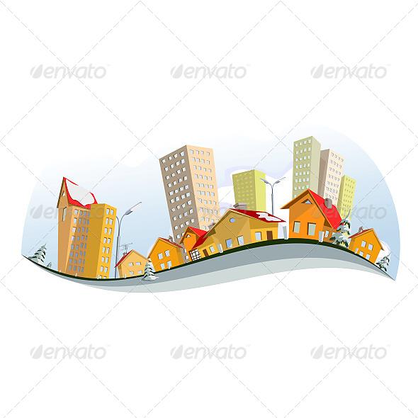 GraphicRiver Vector City Winter 6603636
